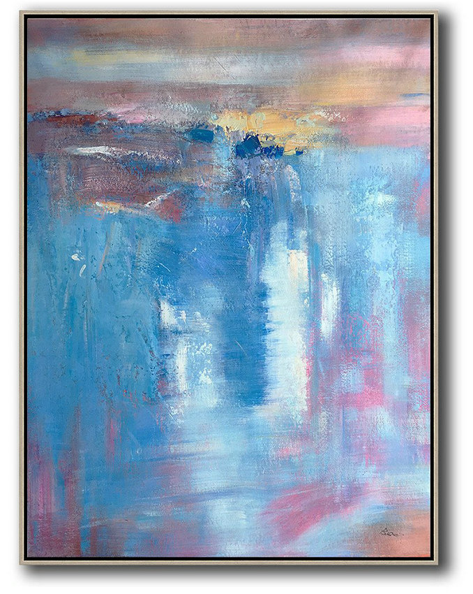Vertical Palette Knife Contemporary Art,Large Contemporary Painting,Blue,Pink,Brown,Yellow,White