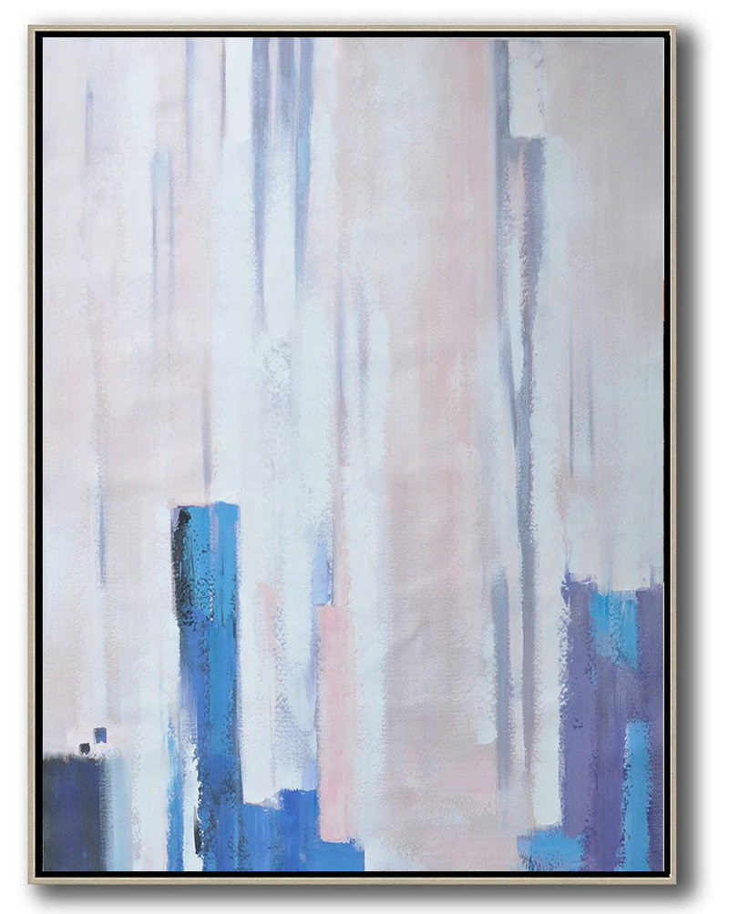 Vertical Palette Knife Contemporary Art,Acrylic Painting On Canvas,Pink,Blue,Purple,White