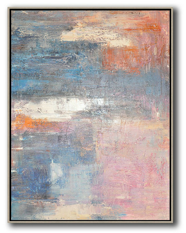 Vertical Palette Knife Contemporary Art,Hand Paint Large Clean Modern Art,Pink,White,Orange,Violet Ash