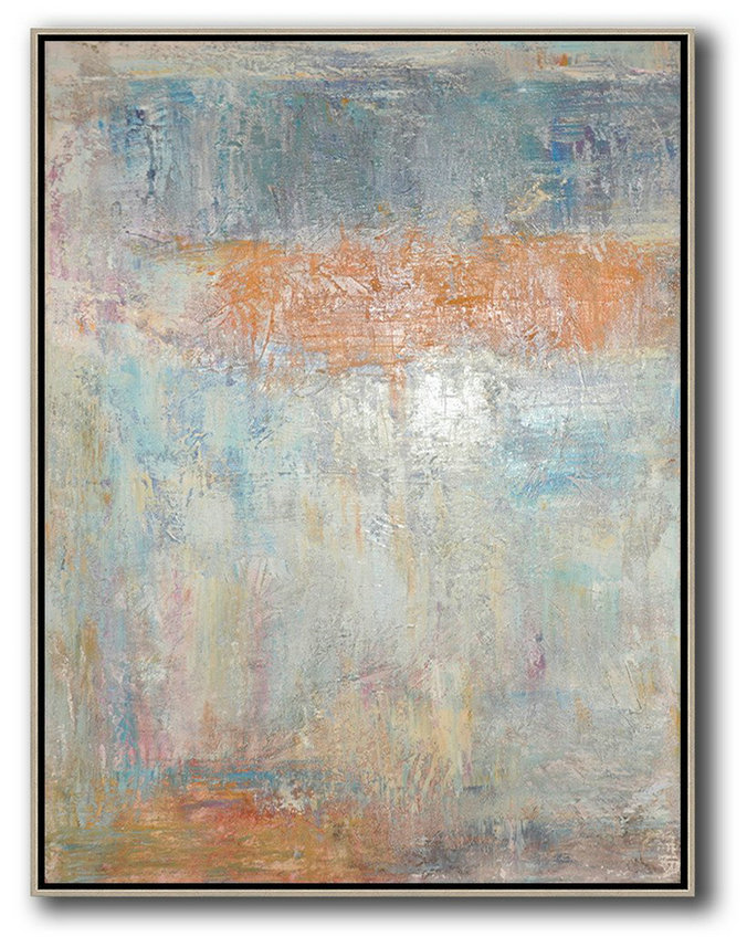 Vertical Palette Knife Contemporary Art,Hand Made Original Art,Grey,Orange,Blue