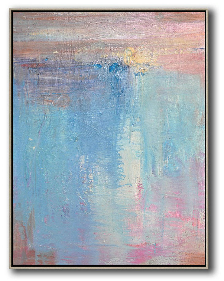 Vertical Palette Knife Contemporary Art,Original Abstract Painting Canvas Art,Pink,Nblue,Purple