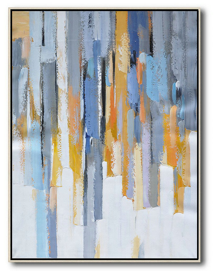Vertical Palette Knife Contemporary Art,Unique Canvas Art,Purple,Yellow,White,Grey