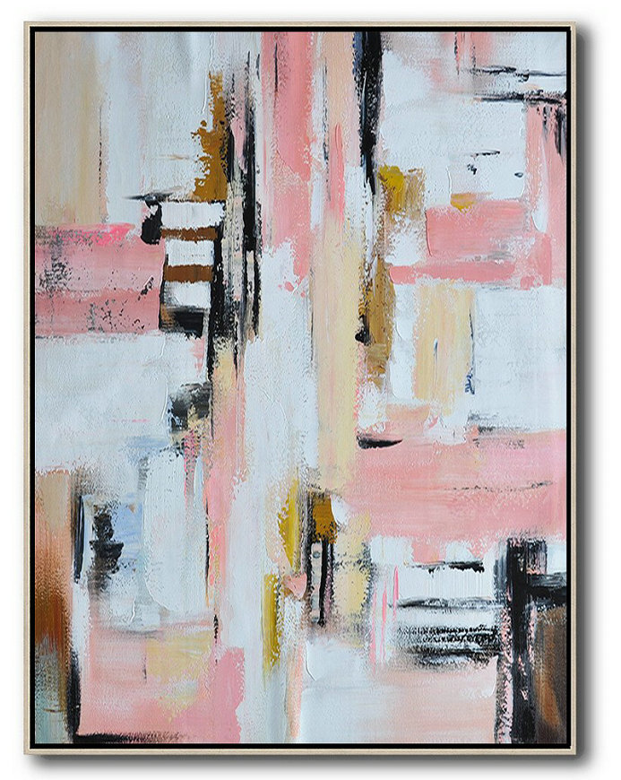 Vertical Palette Knife Contemporary Art,Modern Art Abstract Painting,Pink,White,Beige,Brown