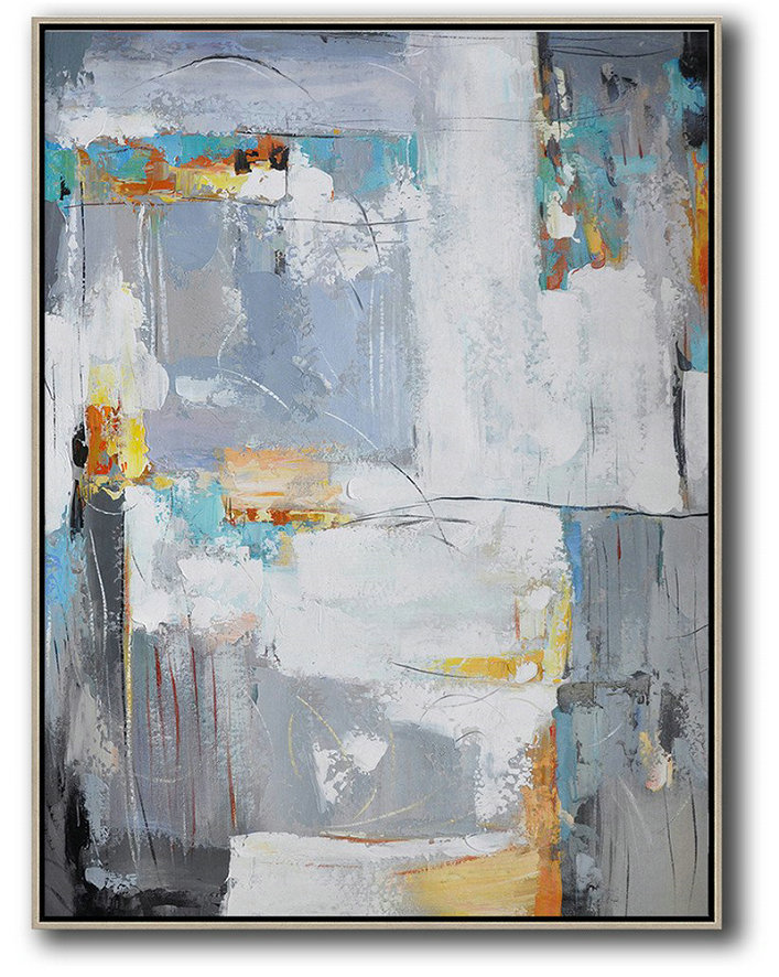 Vertical Palette Knife Contemporary Art,Hand Painted Aclylic Painting On Canvas,White,Grey,Yellow