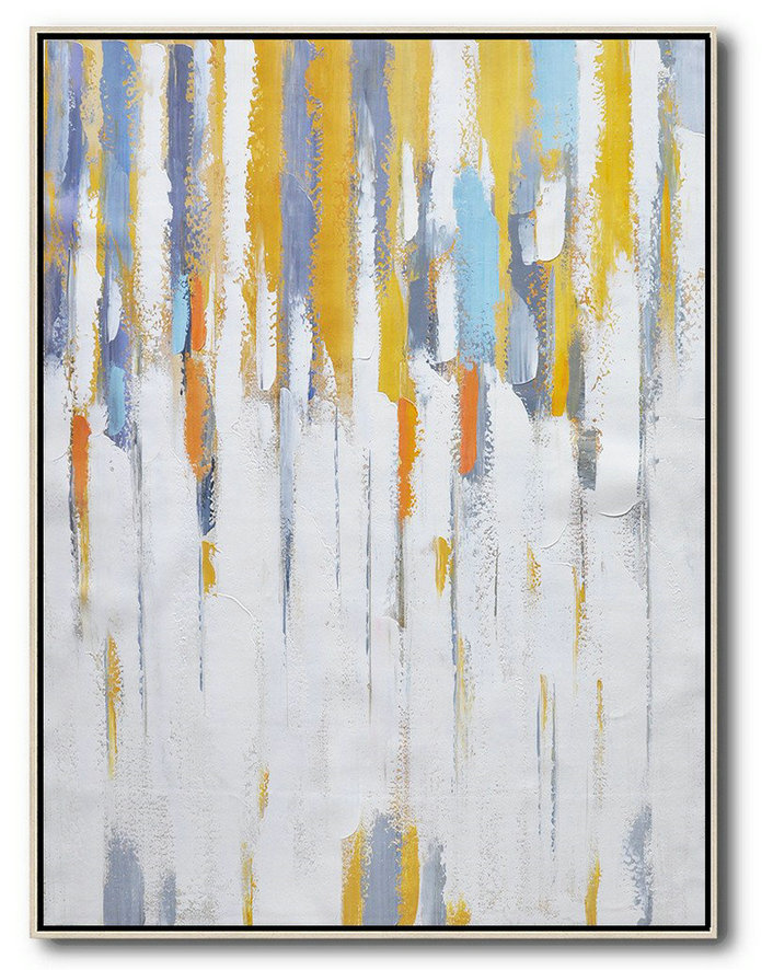 Vertical Palette Knife Contemporary Art,Acrylic Painting Large Wall Art,White,Yellow,Violet Ash,Grey
