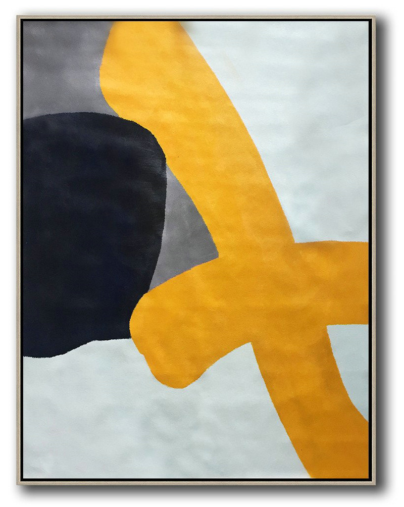 Vertical Contemporary Art,Extra Large Artwork,Yellow,White,Black,Navy Blue