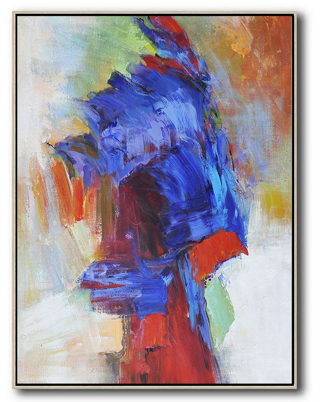Vertical Palette Knife Contemporary Art,Abstract Painting Modern Art,Blue,Red,White,Orange,Brown