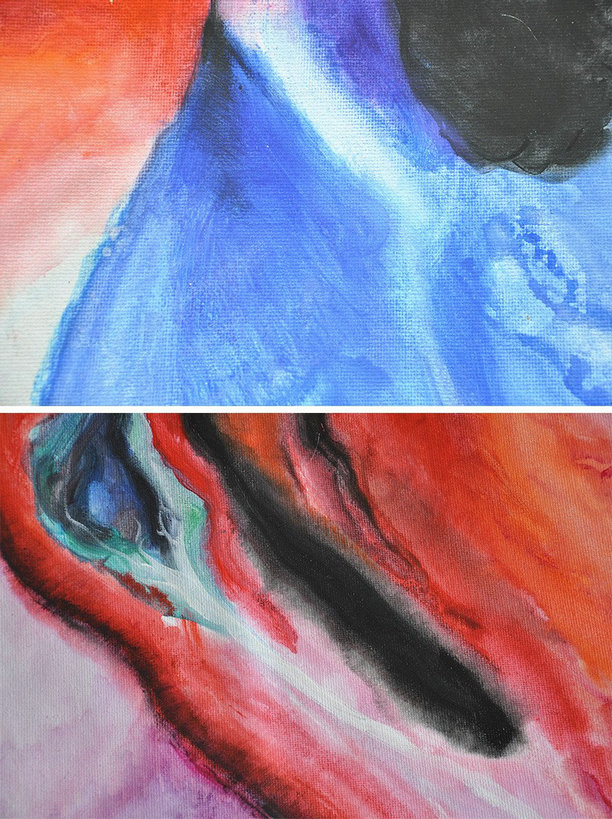 Contemporary Oil Painting,Hand Made Original Art,Black,Red,Blue,Pink