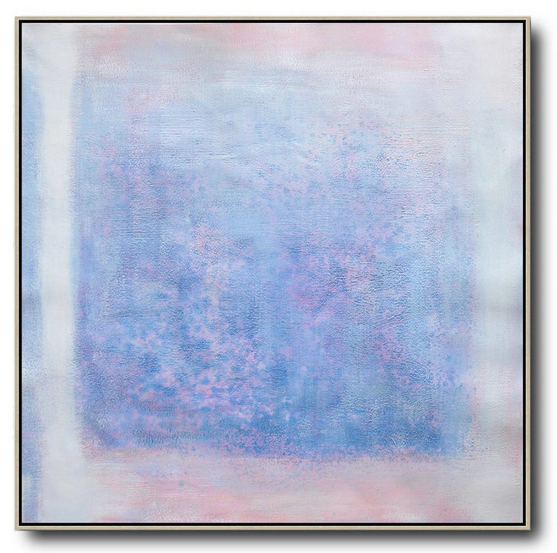 Oversized Contemporary Painting,Giant Canvas Wall Art,Blue,Pink,White,Gray