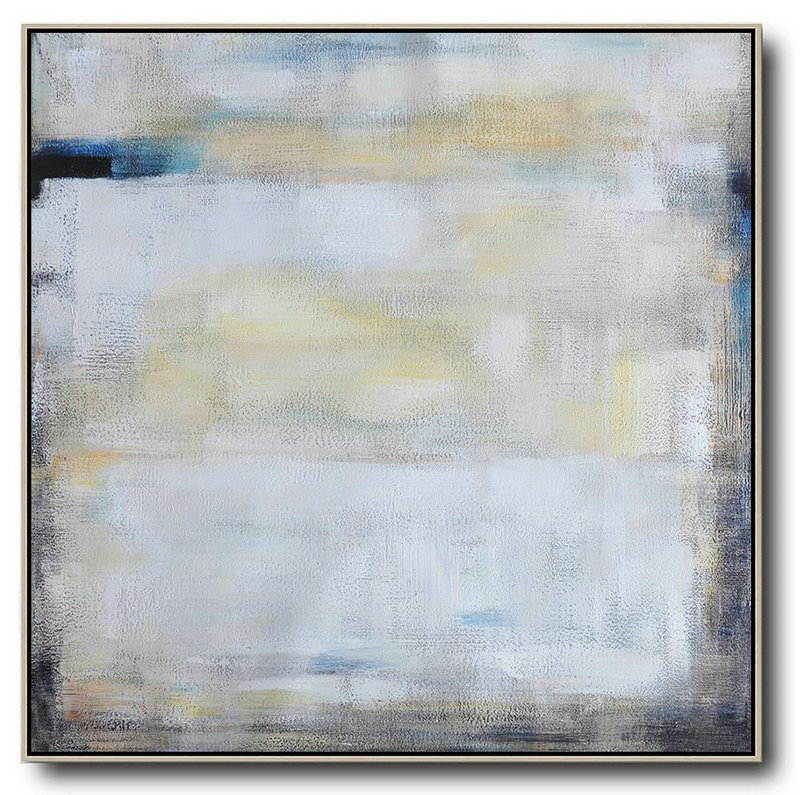 Oversized Contemporary Painting,Living Room Canvas Art,White,Yellow,Blue,Black