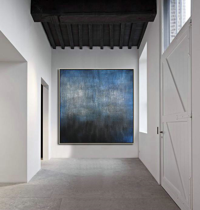 Oversized Contemporary Painting,Canvas Wall Paintings,Black,Blue,Gray