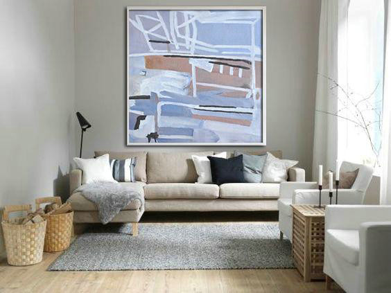 Oversized Abstract Landscape Painting,Contemporary Wall Art,Violet Ash,Taupe,White