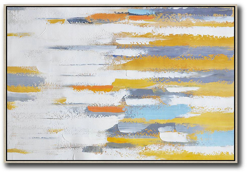 Oversized Contemporary Painting,Original Abstract Painting Canvas Art,Yellow,White,Grey