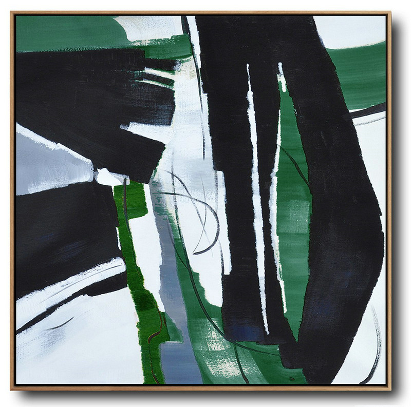 Oversized Dark Green Contemporary Painting,Canvas Artwork For Living Room,Dark Green,Balck,White