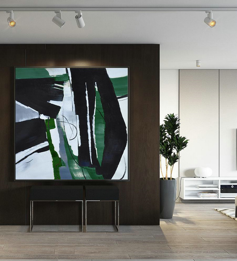 Oversized Dark Green Contemporary Painting,Canvas Artwork For Living Room,Dark Green,Balck,White - Click Image to Close