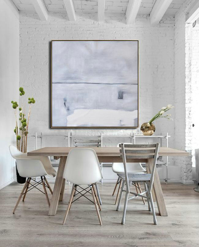 Oversized Minimalist Painting,Personalized Canvas Art,Grey,White,Balck - Click Image to Close