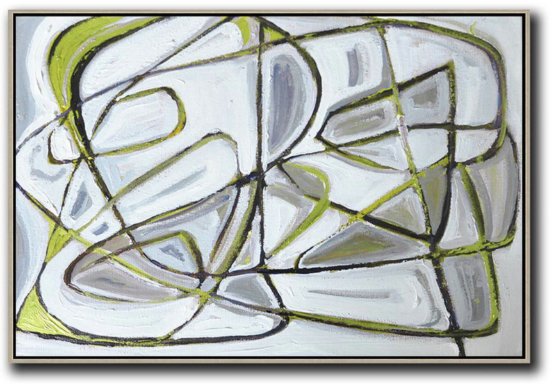 Horizontal Palette Knife Contemporary Art,Hand Paint Large Art,White,Grey,Green,Black