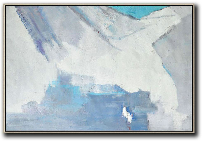 Oversized Horizontal Contemporary Art,Large Contemporary Painting,White,Grey,Blue