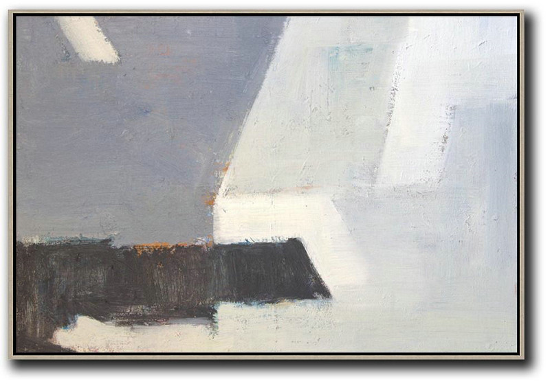 Oversized Horizontal Contemporary Art,Original Abstract Oil Paintings,White,Grey,Blue