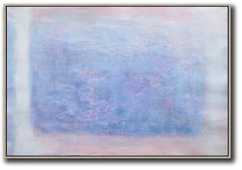 Oversized Horizontal Contemporary Art,Modern Abstract Wall Art,Pink,Blue,Purple,White