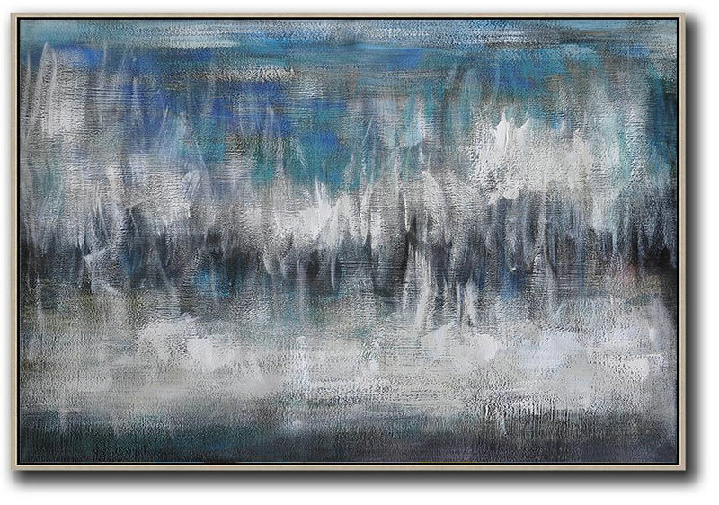 Oversized Horizontal Contemporary Art,Large Canvas Art,Modern Art Abstract Painting,Blue,Grey,Black,White
