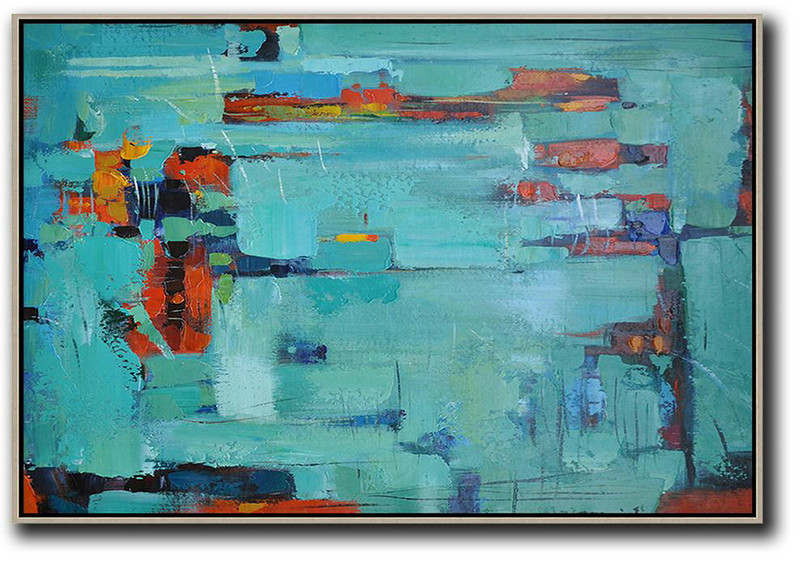 Oversized Horizontal Contemporary Art,Canvas Wall Paintings,Lake Blue,Dark Blue ,Red