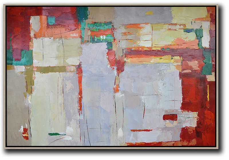 Oversized Horizontal Contemporary Art,Large Wall Canvas Paintings,Grey,Red,Yellow