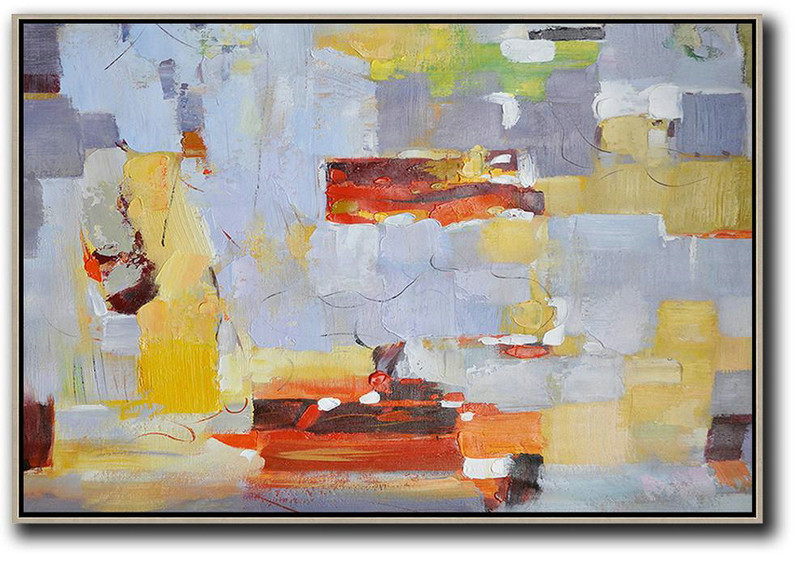 Oversized Horizontal Contemporary Art,Huge Wall Decor,Grey,Red,Yellow