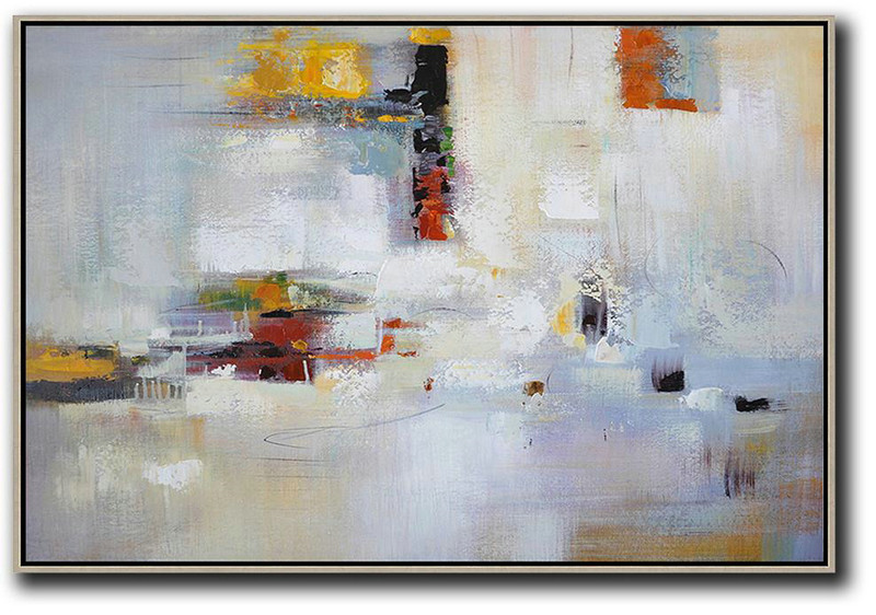 Oversized Horizontal Contemporary Art,Decorating A Big Living Room,White,Yellow,Red,Grey