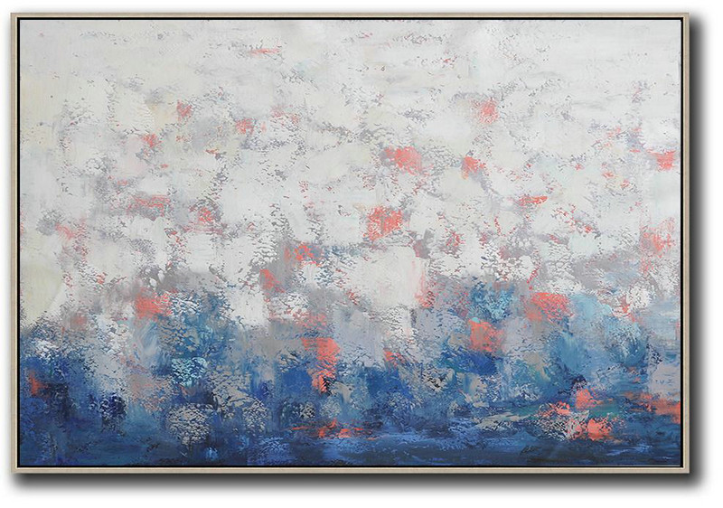 Oversized Horizontal Contemporary Art,Contemporary Wall Art,White,Grey,Blue