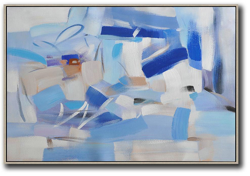 Oversized Horizontal Contemporary Art,Hand Paint Large Clean Modern Art,Grey,White,Blue