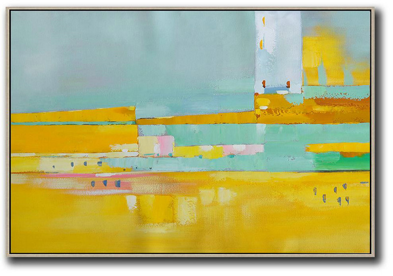 Oversized Horizontal Contemporary Art,Xl Large Canvas Art,Yellow,White,Light Green,Pink