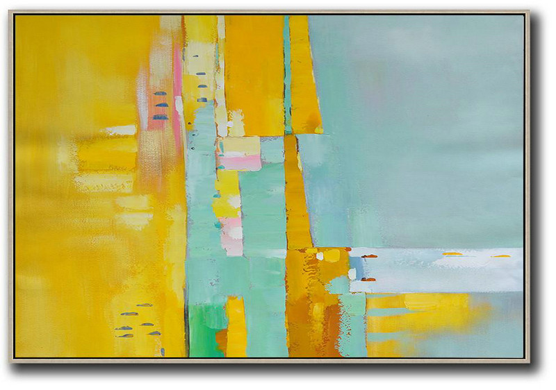 Oversized Horizontal Contemporary Art,Acrylic Painting Canvas Art,Yellow,White,Light Green,Pink
