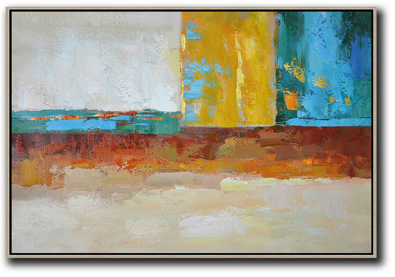 Oversized Horizontal Contemporary Art,Lounge Room Decor,Blue,Yellow,White,Red