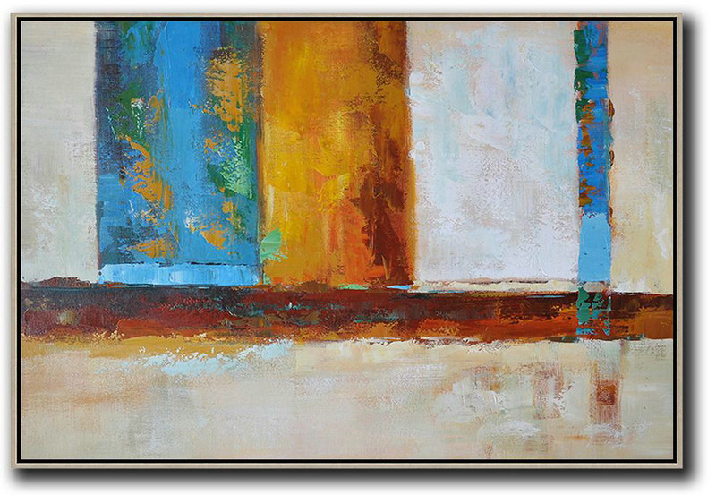 Oversized Horizontal Contemporary Art,Big Wall Art For Living Room,Blue,Earthy Yellow ,White