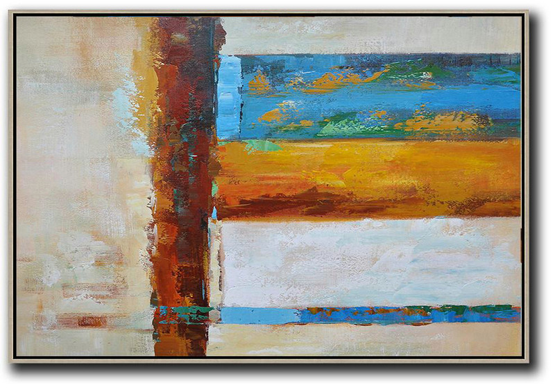 Oversized Horizontal Contemporary Art,Hand Made Original Art,Blue,Yellow,White,Brown,Light Yellow