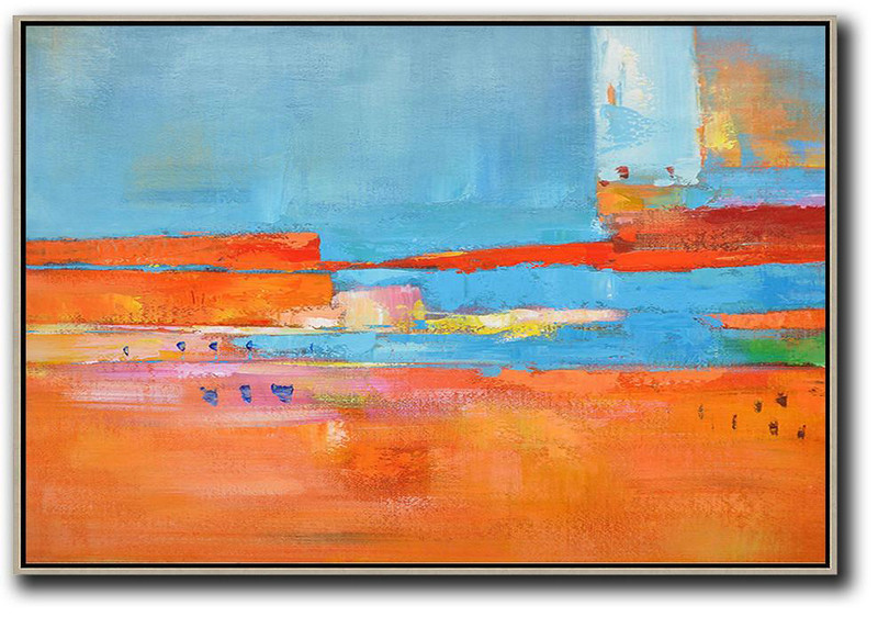 Oversized Horizontal Contemporary Art,Abstract Painting On Canvas,Blue,Red,Orange