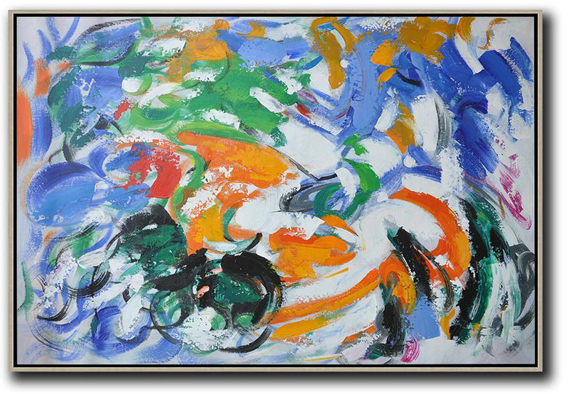 Oversized Horizontal Contemporary Art,Textured Painting Canvas Art,Blue,White,Green,Orange