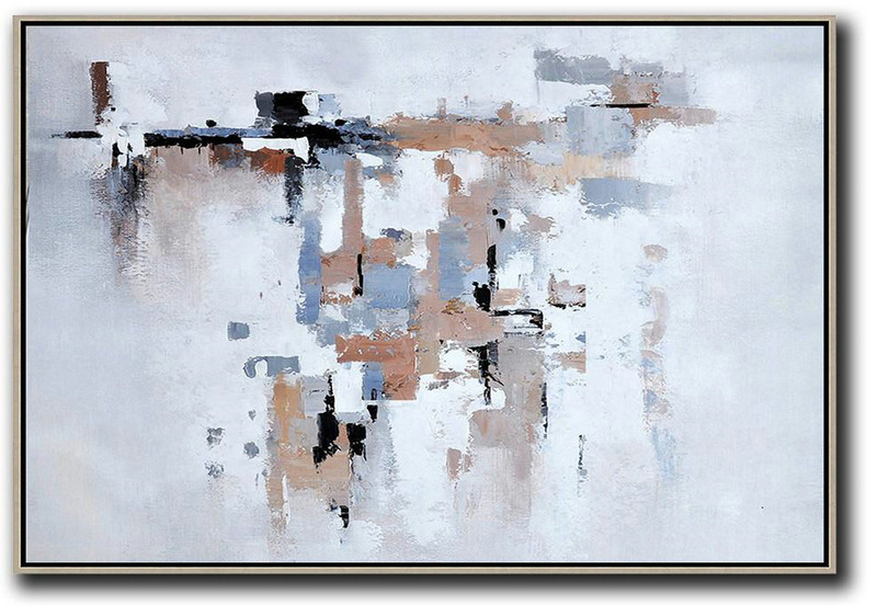 Oversized Horizontal Contemporary Art,Pretty Abstract Paintings,White,Grey,Beige