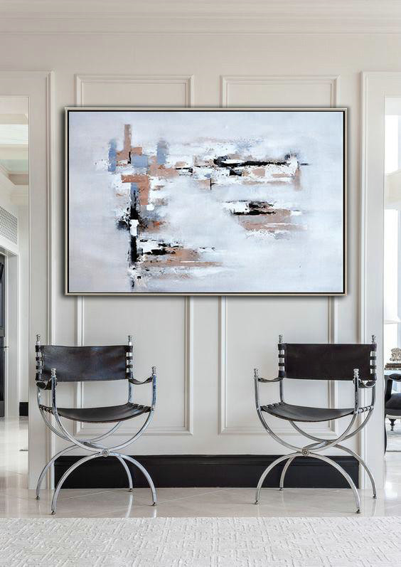 Oversized Horizontal Contemporary Art,Hand Painted Canvas Art,White,Grey,Beige