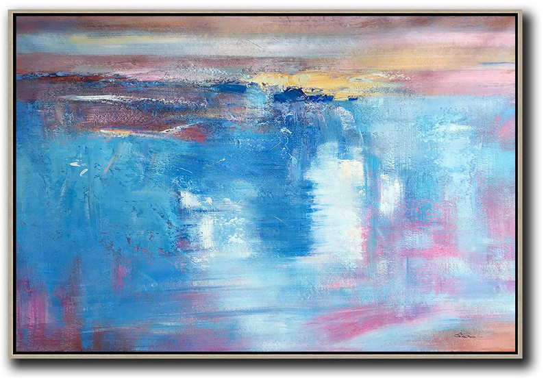 Oversized Horizontal Contemporary Art,Contemporary Abstract Painting,Blue,Pink,Yellow,White