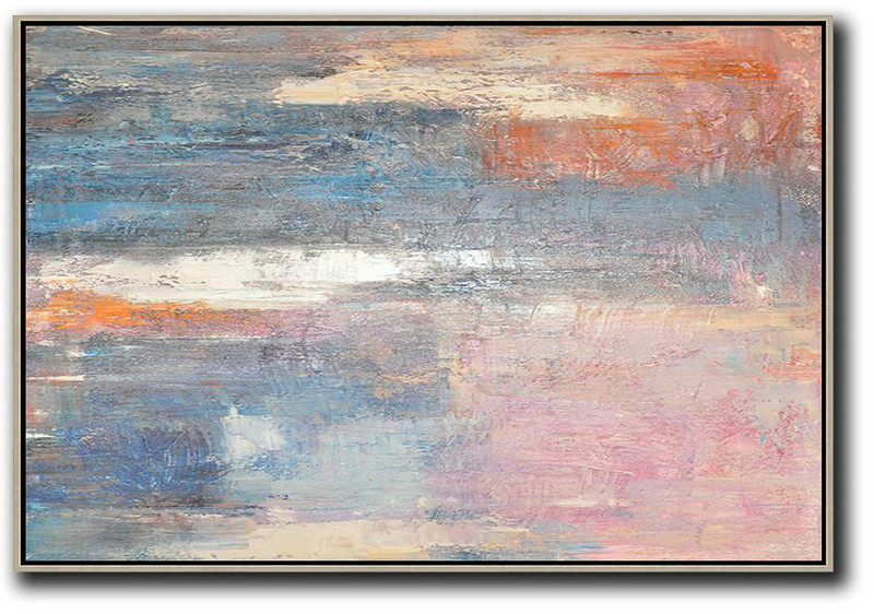 Oversized Horizontal Contemporary Art,Original Abstract Art Paintings,Pink,Blue,Grey