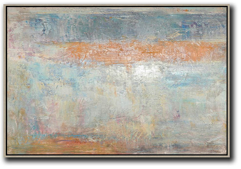 Oversized Horizontal Contemporary Art,Multicolor Abstract Painting,Earthy Yellow,Grey,White