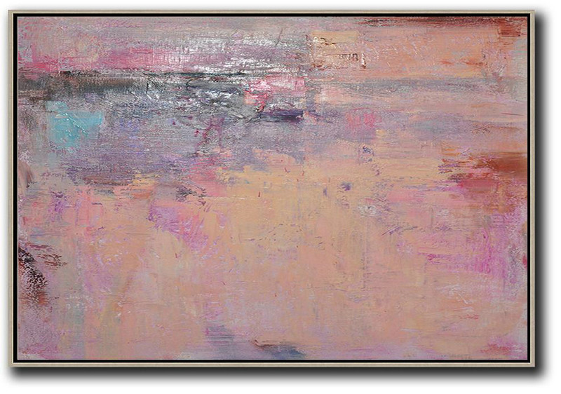 Oversized Horizontal Contemporary Art,Modern Painting Abstract,Nude,Pink,Purple,Brown
