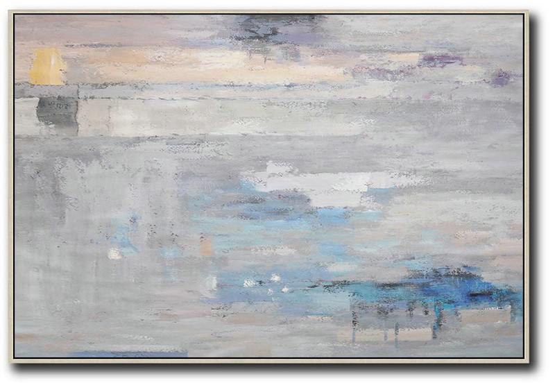 Oversized Horizontal Contemporary Art,Acrylic On Canvas Abstract, Grey,Blue,White