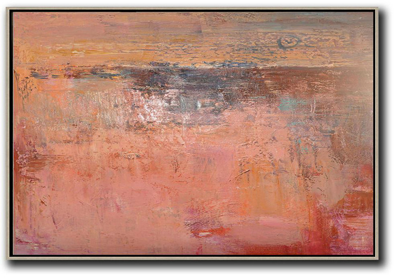 Oversized Horizontal Contemporary Art,Contemporary Canvas Paintings,Pink,Nude,Brown,Red