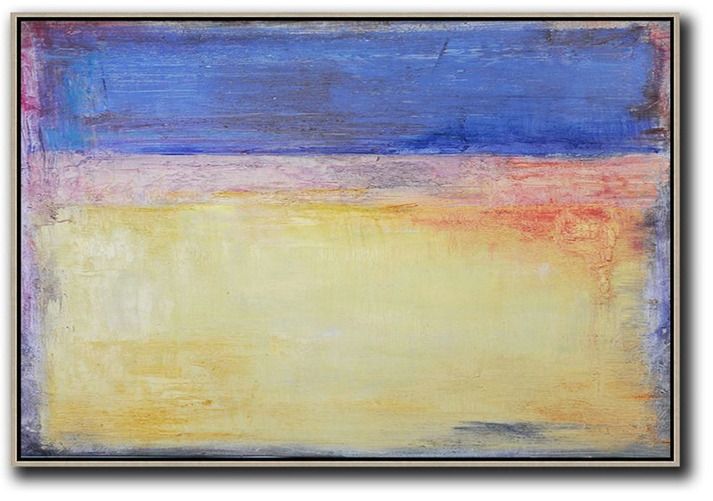 Oversized Horizontal Contemporary Art,Abstract Artwork Online,Blue,Purple,Yellow,Red
