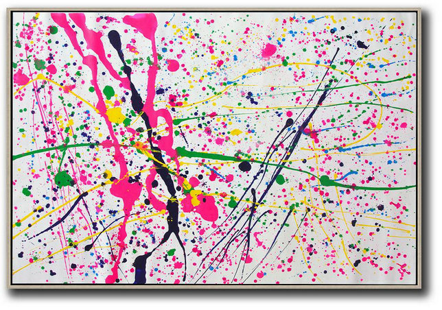 Oversized Horizontal Contemporary Art,Extra Large Canvas Painting,Pink,White,Yellow,Green