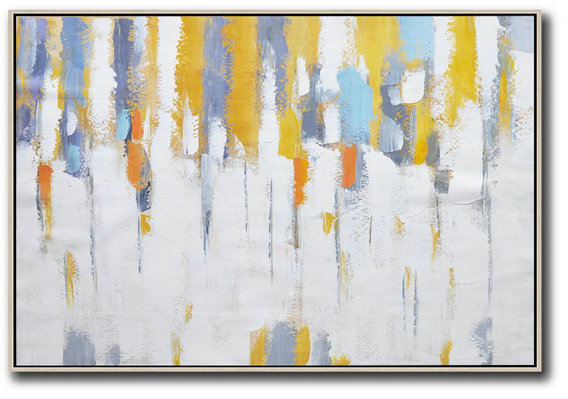 Oversized Horizontal Contemporary Art,Hand Painted Original Art,White,Yellow,Purple Grey