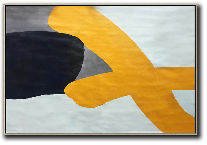 Oversized Horizontal Contemporary Art,Abstract Painting Modern Art,White,Yellow,Black,Grey